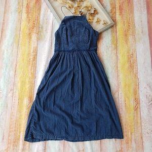 Lucky Brand Dresses - Lucky Brand Schiffli Eyelet Chambray Midi Dress L